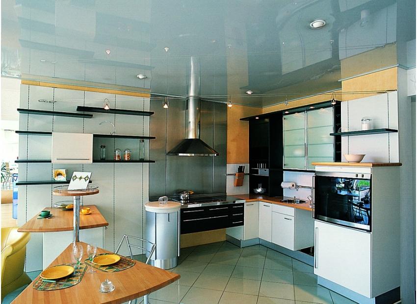 Как красиво сделать потолок на кухне с натяжным потолком фото